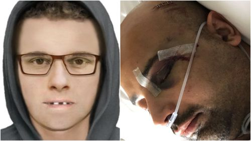 The unknown man, left, attacked the 33-year-old deliveryman about 3.40am.