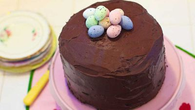 "Recipe: <a href=""http://kitchen.nine.com.au/2016/06/06/13/16/easter-egg-onebowl-chocolate-layer-cake-with-chocolate-mousse-icing"" target=""_top"">Easter egg one-bowl chocolate layer cake with chocolate mousse icing</a>"
