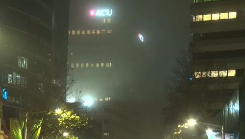 Sydney was shrouded in mist from early this morning. Picture: 9NEWS