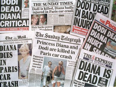 Princess Diana death newspaper headlines
