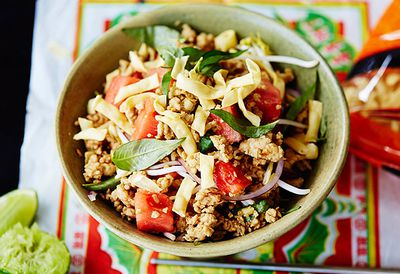 "Recipe: <a href=""/recipes/ichicken/9065047/chicken-and-watermelon-noodle-salad"" target=""_top"">Chicken and watermelon noodle salad</a>"