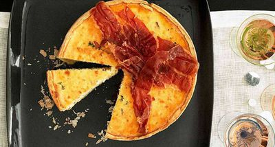 "Recipe:&nbsp;<a href=""http://kitchen.nine.com.au/2016/05/16/14/11/gruyre-and-prosciutto-sour-cream-tart"" target=""_top"">Gruyère and prosciutto sour cream tart</a>"