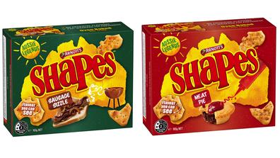 Arnott's Shapes Aussie Legends range featuring Meat Pie and Sausage Sizzle flavour