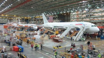 The Boeing Everett Factory in Washington, where workers are assembling a 787-8.