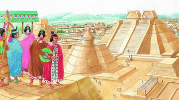 Aztec nobles and warriors survey the ceremonial center of Tenochtitlan. The temple of Quetzalcoatl is before them and beyond it the great double temple pyramid dedicated to Huitzilopochtli, the God of War, and Tlaloc, the Rain God. Nearby is the tzompantli or skull rack, where the heads of sacrificial victims were put on display. In the distance are groups of houses and gardens. (Photo by: Brown Bear/Windmil Books/UIG via Getty Images)