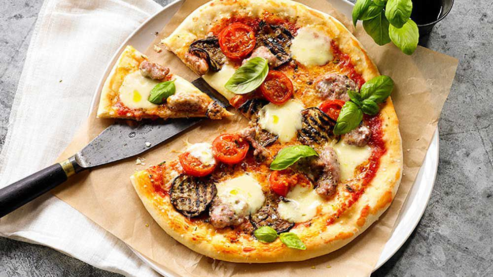 Pizza Siciliana (eggplant, sausage, cherry tomatoes)