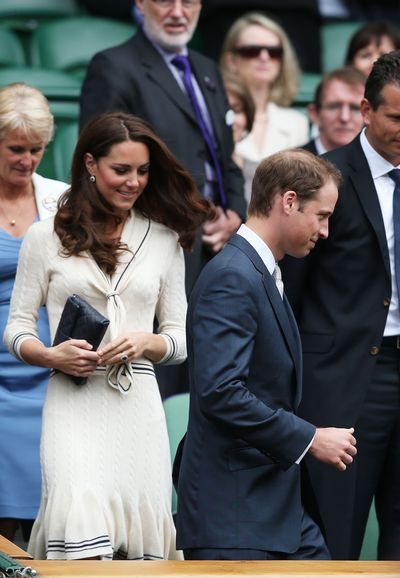 The Duchess of Cambridge Kate Middleton inAlexander McQueen on  day nine of the Wimbledon Lawn Tennis Championships at the All England Lawn Tennis and Croquet Club  in London, England, July, 2012