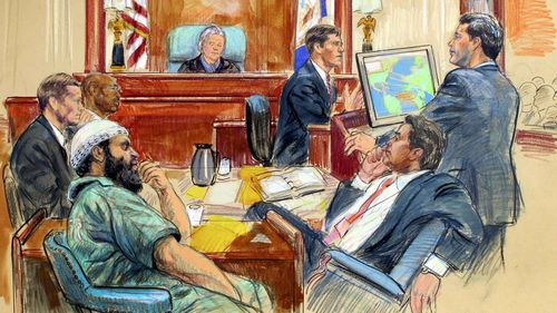 Ex-FBI special agent Aaron Zebley (third from right) is questioned during the trial of al-Qaeda terrorist Zacarias Moussaoui. (AAP)