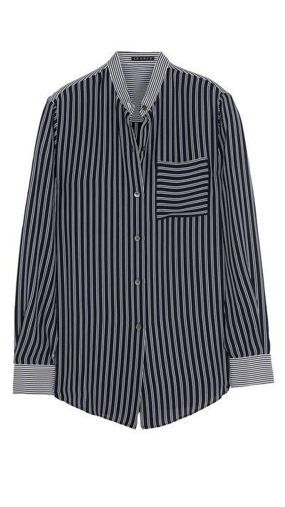 "<p><a href=""http://www.net-a-porter.com/au/en/product/505582"">Ziria Silk-Georgette Shirt, $381, Theory</a></p>"
