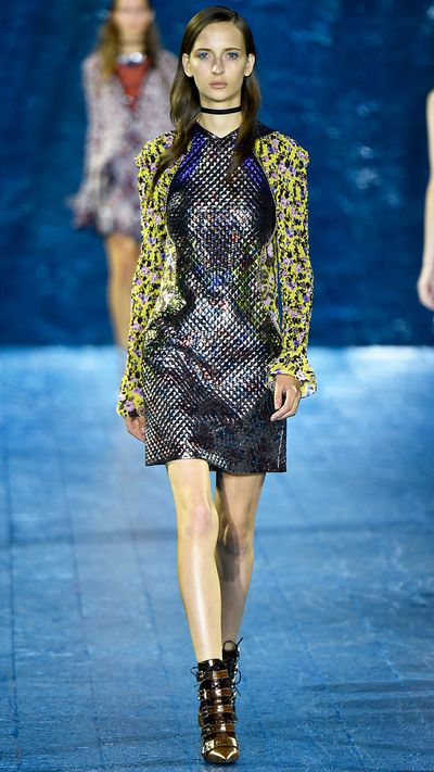 Mary Katrantzou has long been a pioneer of high fashion digital prints, and coupled with metallic and geometric details, the  highly detailed production of her SS16 collection felt wholly of its time.