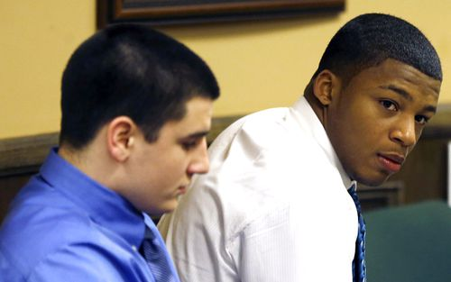 Trent Mays (left) and co-defendant Ma'lik Richmond sit in court during their trial on rape charges in juvenile court in Steubenville, Ohio. Mays and Richmond were found guilty of raping a 16-year-old West Virginia girl in August of 2012.