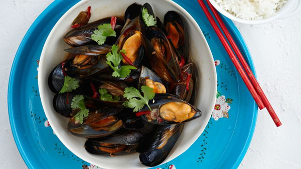 Stir-fried mussels and rice for $10