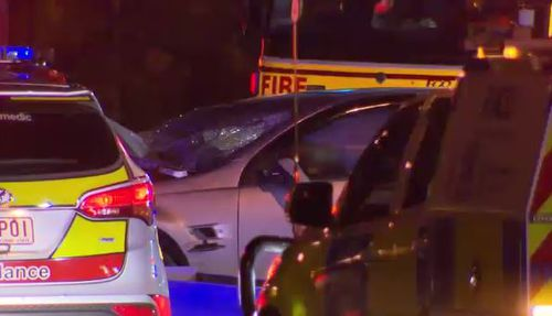 A silver Holden Commodore swerved into oncoming traffic before clipping a Hyundai and smashing head-on into another car. Picture: 9NEWS
