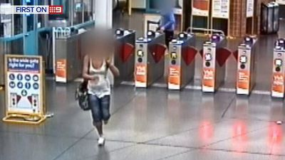 The alleged bagsnatcher was filmed fleeing the station, but was later picked up and charged. (9NEWS)