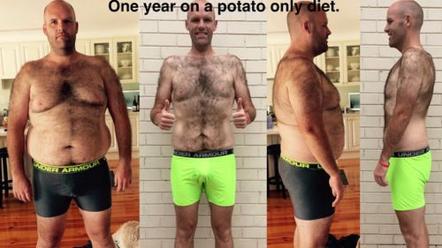 Melbourne man loses 56kg eating only potatoes for a year