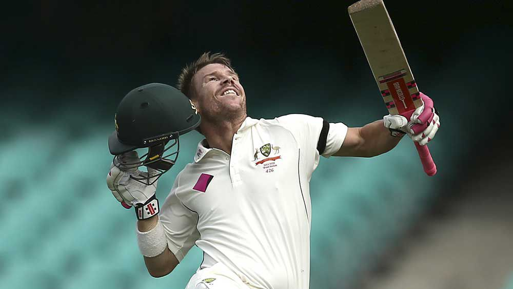 David Warner celebrates a century. (Getty)