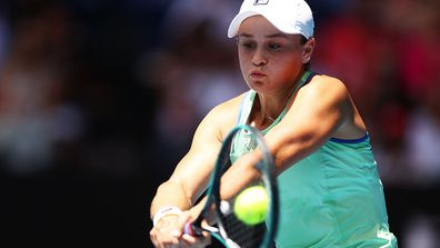 Ashleigh Barty of Australia plays a backhand during her Women's Singles Quarterfinal match