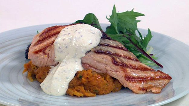 Grilled salmon and vegetable mash