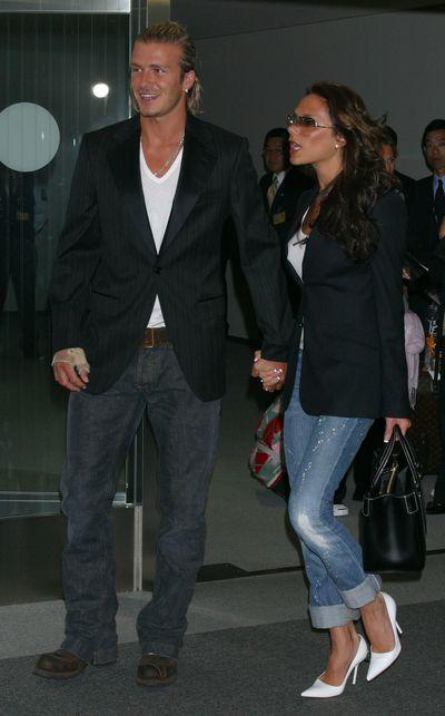 <p><strong>Jet set denim</strong></p> <p>Victoria and David Beckham arrive at New Tokyo International Airport on June 18, 2003.</p>