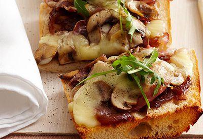 Mixed mushroom and mozzarella pizza