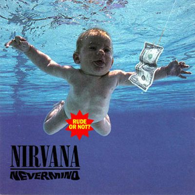 """Nirvana's record company originally prepared a cover of <i>Nevermind</i> without the baby's penis - but Kurt Cobain was having none of it. He said at the time he'd only compromise by placing a sticker over the offending anatomy that read """"If you're offended by this, you must be a closet pedophile.""""<br/>Twenty years later, Facebook pulled the artwork from their website - only to reinstate it quickly afterwards."""
