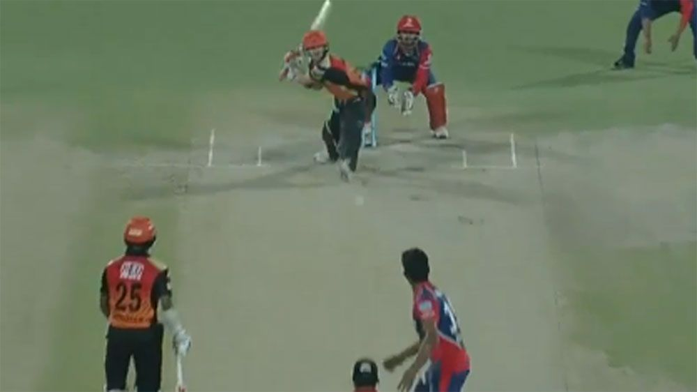 David Warner hits reverse sweep six in loss to Delhi Daredevils in IPL