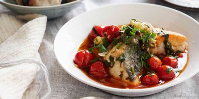 Sicilian blue-eye stew with tomatoes & capers