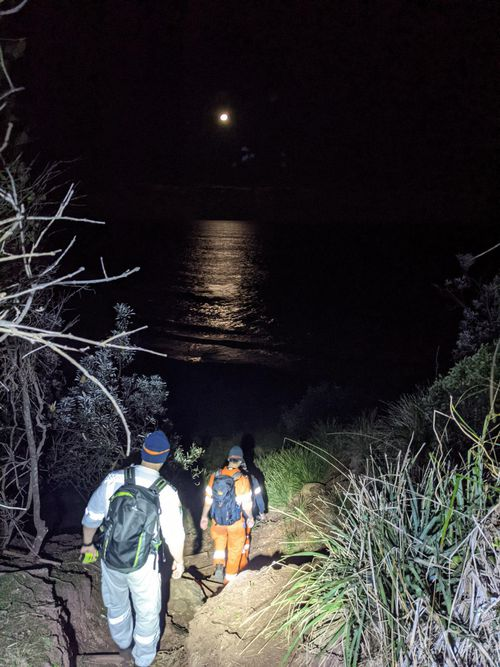 NSW State Emergency Service members search bushland for two nude sunbathers, who got lost earlier in the day.