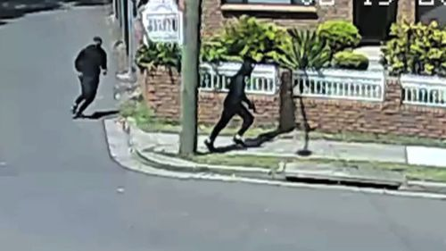 The two men are believed to be linked to the murder, which occurred in broad daylight outside a Fitness First gym in Rockdale yesterday (Supplied).