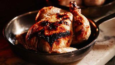 "Recipe: <a href=""http://kitchen.nine.com.au/2016/09/14/09/49/wood-fired-roasted-burrawong-chicken"" target=""_top"">Woodfired roasted Burrawong chicken</a>"