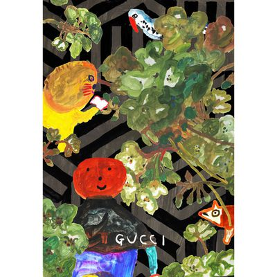 While Mogu Takahashi's work has a childlike aesthetic, and the Japanese illustrator is self-taught, there's nothing juvenile about her ability, as witnessed in this #GucciGram creation.