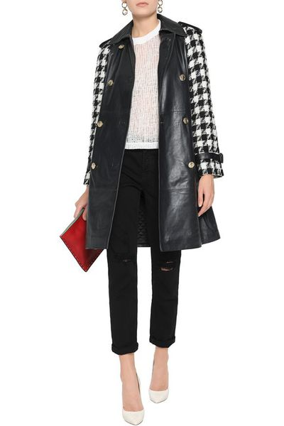 "<a href=""https://www.theoutnet.com/en-au/shop/product/mid_cod20832158204429966.html#dept=INTL_Coats_CLOTHING"" target=""_blank"" draggable=""false"">Boutique Moschino Houndstooth Wool-Panelled Leather Coat, $729</a>"