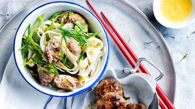 "Recipe:&nbsp;<a href=""http://kitchen.nine.com.au/2017/03/21/10/03/thai-beef-patties-and-rice-noodle-salad"" target=""_top"">Thai beef patties and rice noodle salad</a>"