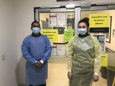 Two Melbourne nurses gear up for a 10 hour shift.