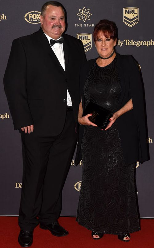Darryl Brohman and wife Beverly arrive for the Dally M Awards in Sydney on Wednesday, Sept. 28, 2016.