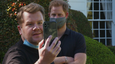 James Cordon takes Prince Harry to the iconic Fresh Prince of Bel-Air mansion.