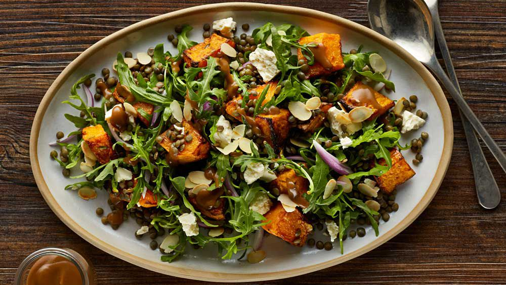 Warm roast pumpkin and lentil salad recipe