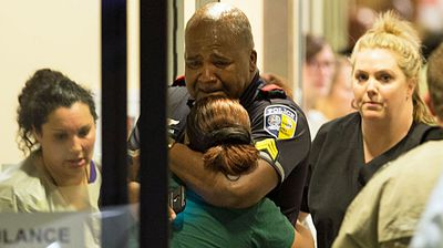 A DART officer at the emergency room entrance to Baylor University Hospital.