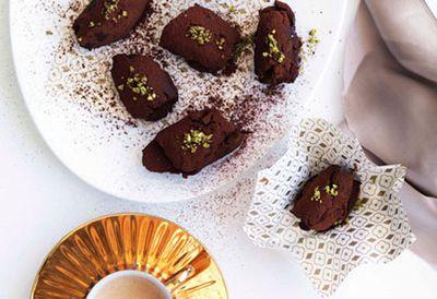 Chocolate, pistachio and orange-blossom truffles