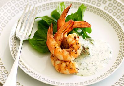 Spicy barbecue prawn salad