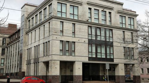 """The building in St Petersburg, Russia, which housed the so-called """"troll factory"""". (AP)."""