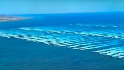 100 armed speedboats swarmed the target according to the Islamic Republic's semi-official Fars News agency. (Supplied)