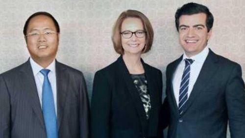 Huang Xiangmo with former prime minister Julia Gillard and Senator Sam Dastyari.