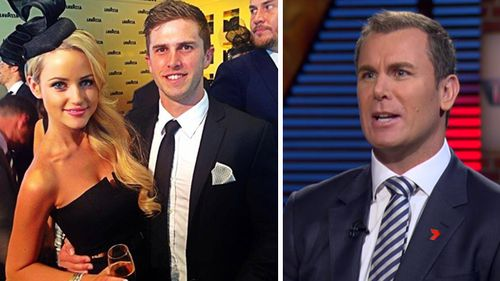 Marc Murphy and his wife Jessie (left). Wayne Carey (right) appears on Talking Footy to stamp down on nasty rumours. Source: Facebook / Seven