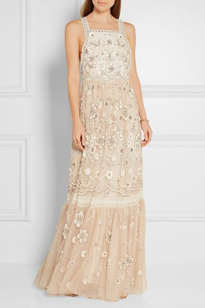 "<p>Romantic literature</p> <p>Needle &amp; Thread, lace trim gown, $737 at <a href=""https://www.net-a-porter.com/au/en/product/706042/needle___thread/lace-trimmed-embellished-tulle-gown"" target=""_blank"">Netaporter.com</a>&nbsp;</p>"