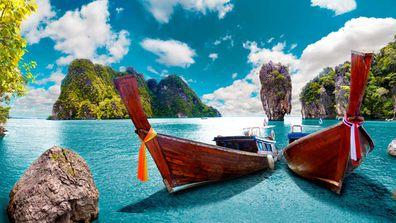 Phuket Thailand boats with ribbons