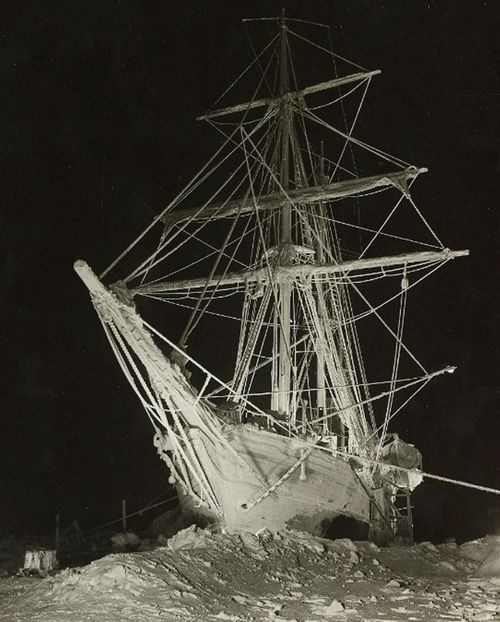 The stranded Endurance lit up by flares in the night. (AP).