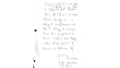 Letter that Evelyn Underwood wrote