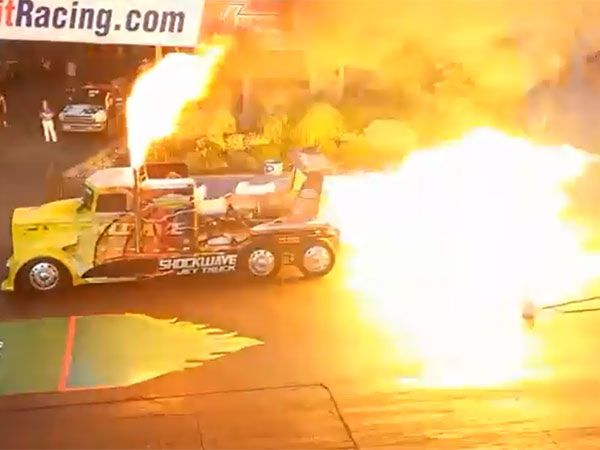Monster jet-truck blows road apart