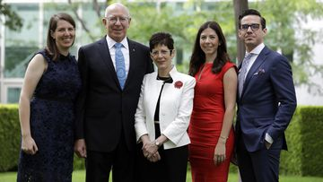 Newly appointed Australian Governor General David Hurley (2nd left) with his family (L-R) daughter Caitlin Orr, wife Linda Hurley, daughter Amelia Hurley and son Marcus Hurley at Parliament House.